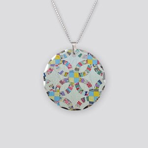 Colorful patchwork quilt Necklace Circle Charm