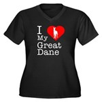 I Love My Great Dane Women's Plus Size V-Neck Dark