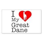 I Love My Great Dane Sticker (Rectangle)