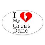 I Love My Great Dane Sticker (Oval 50 pk)