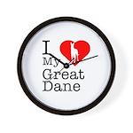 I Love My Great Dane Wall Clock
