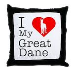I Love My Great Dane Throw Pillow