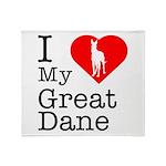 I Love My Great Dane Throw Blanket