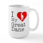 I Love My Great Dane Large Mug