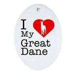 I Love My Great Dane Ornament (Oval)