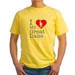 I Love My Great Dane Yellow T-Shirt