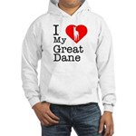 I Love My Great Dane Hooded Sweatshirt