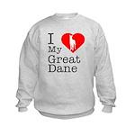 I Love My Great Dane Kids Sweatshirt