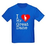 I Love My Great Dane Kids Dark T-Shirt