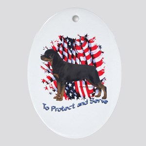 Rottie 2 Oval Ornament