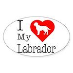 I Love My Labrador Retriever Sticker (Oval 10 pk)