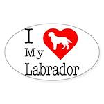 I Love My Labrador Retriever Sticker (Oval 50 pk)