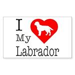 I Love My Labrador Retriever Sticker (Rectangle 10
