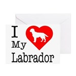 I Love My Labrador Retriever Greeting Cards (Pk of