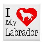 I Love My Labrador Retriever Tile Coaster