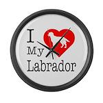 I Love My Labrador Retriever Large Wall Clock