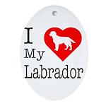 I Love My Labrador Retriever Ornament (Oval)