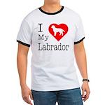 I Love My Labrador Retriever Ringer T