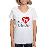 I Love My Labrador Retriever Women's V-Neck T-Shir