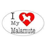 I Love My Malamute Sticker (Oval 50 pk)