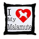 I Love My Malamute Throw Pillow