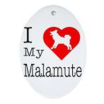 I Love My Malamute Ornament (Oval)