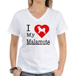 I Love My Malamute Women's V-Neck T-Shirt