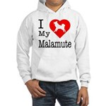 I Love My Malamute Hooded Sweatshirt