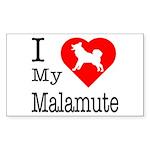 I Love My Malamute Sticker (Rectangle)