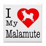 I Love My Malamute Tile Coaster