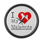 I Love My Malamute Large Wall Clock
