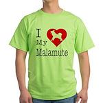 I Love My Malamute Green T-Shirt