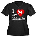 I Love My Malamute Women's Plus Size V-Neck Dark T