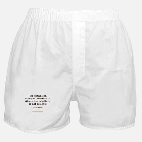 """Reagan Establish No Religion Boxer Shorts"