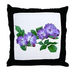 Blue Climbing Roses Throw Pillow