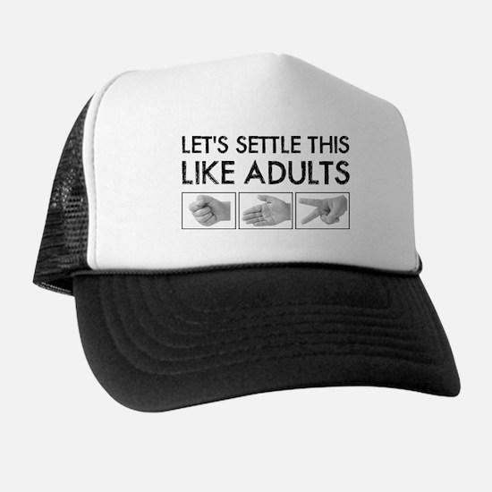 Rock Paper Scissors: Like Adults Trucker Hat