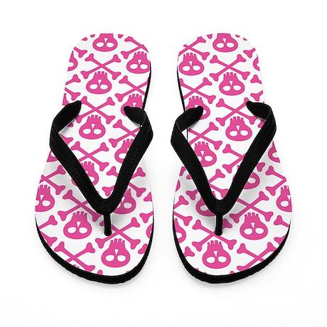 Pink White Skulls Flip Flops