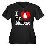I Love My Maltese Women's Plus Size V-Neck Dark T-