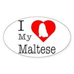 I Love My Maltese Sticker (Oval)
