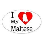 I Love My Maltese Sticker (Oval 10 pk)