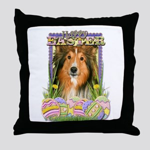 Easter Egg Cookies - Sheltie Throw Pillow