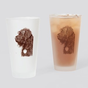 Chocolate Labradoodle 4 Drinking Glass