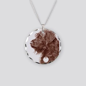 Chocolate Labradoodle 4 Necklace Circle Charm