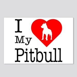 I Love My Pitbull Terrier Postcards (Package of 8)