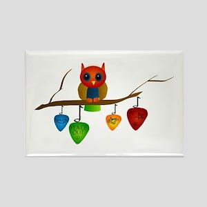 Blue & Orange Owl with Guitar Rectangle Magnet