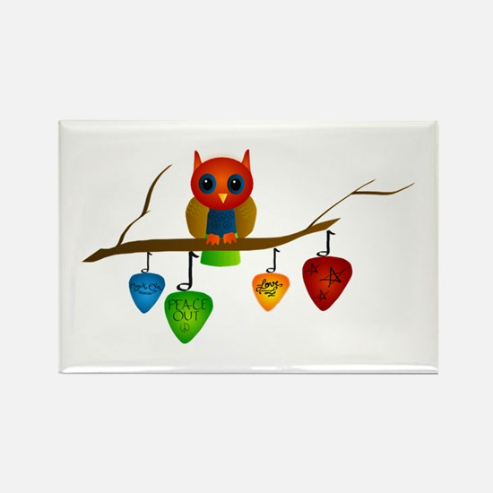 Blue & Orange Owl with Guitar Rectangle Magnet