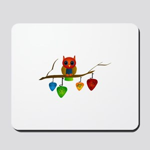 Blue & Orange Owl with Guitar Mousepad