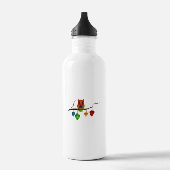 Blue & Orange Owl with Guitar Water Bottle