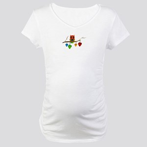 Blue & Orange Owl with Guitar Maternity T-Shirt