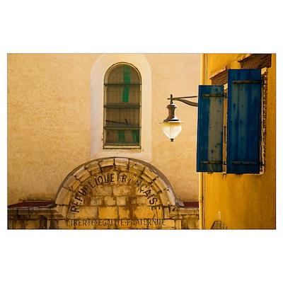 Enscribed Building Facade, Collioure Fishing Villa Poster
